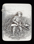 Silver Smalls:Match Safes, AN AMERICAN SILVER HUNTING MATCH SAFE. Unknown maker, American,circa 1900. Marks: STERLING . 2-1/8 inches high (5.4 cm)...