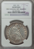 Seated Dollars, 1853 $1 -- Obverse Damage, Improperly Cleaned -- NGC Details.AU....