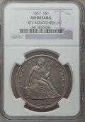 Seated Dollars, 1857 $1 -- Reverse Scratched -- NGC Details. AU....