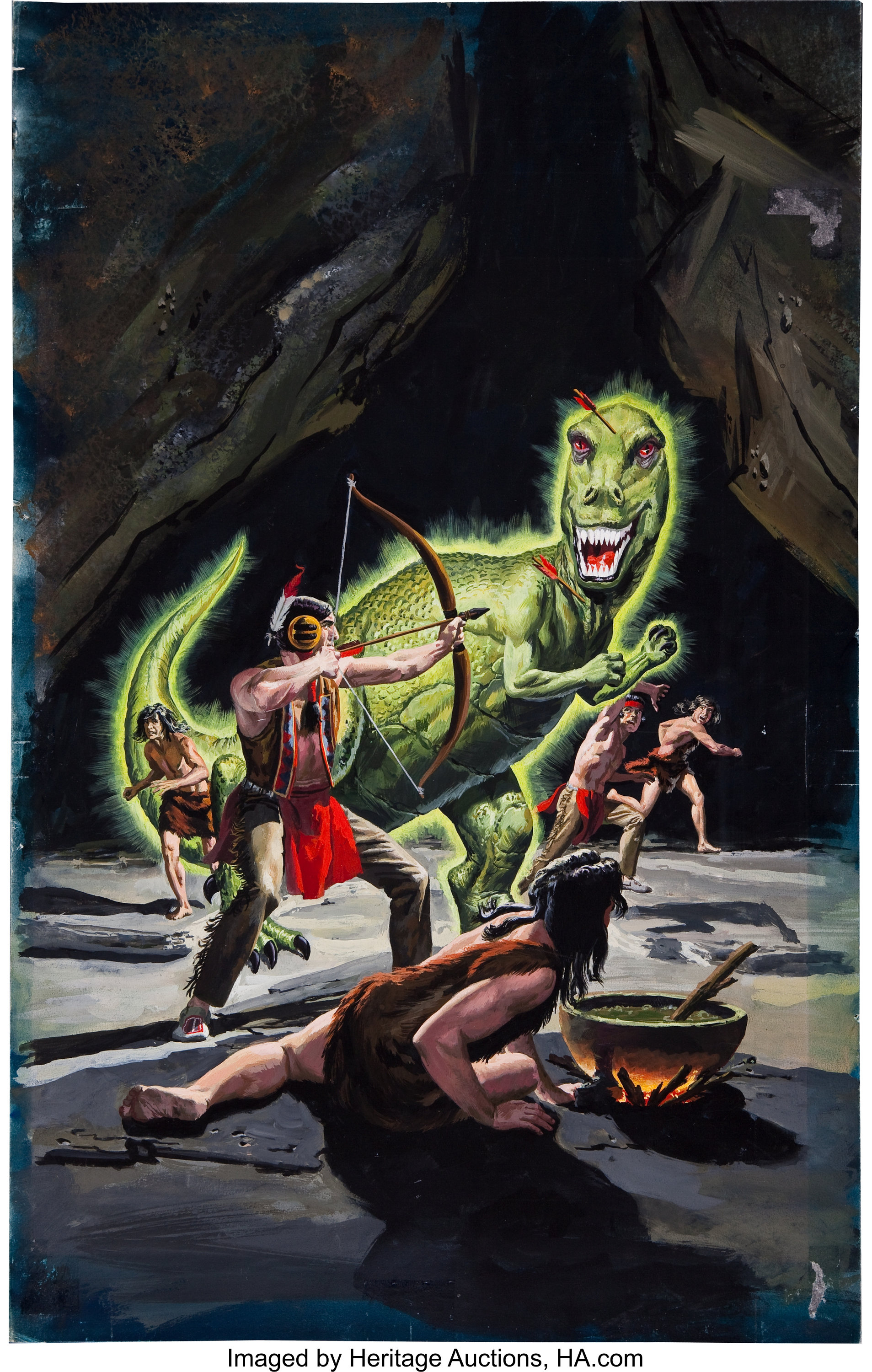 George Wilson Turok Son Of Stone 41 Painted Cover Original Art Lot 92274 Heritage Auctions