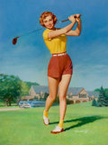 Pin-up and Glamour Art, WILLIAM MEDCALF (American, 20th Century). Pin-Up Golfing.Oil on board. 40 x 30 in.. Signed lower right. ...