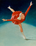 Pin-up and Glamour Art, WILLIAM MEDCALF (American, 20th Century). Pin-Up Ice Skating,NAPA calendar illustration, circa 1960. Oil on board. 29 x...