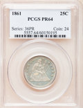 Proof Seated Quarters, 1861 25C PR64 PCGS....