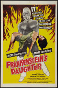 """Movie Posters:Horror, Frankenstein's Daughter (Astor Pictures, 1958). One Sheet (27"""" X 41""""). Horror.. ..."""