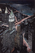 Paintings, RICHARD HAAS (American, b. 1936). View of the Woolworth Building from the World Trade Center, 1998. Pastel and gouache o...