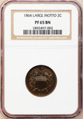 Proof Two Cent Pieces, 1864 2C Large Motto PR65 Brown NGC....