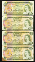 Canadian Currency: , An Asterisk 1969 $20 and Three Regular $20's Fine.. ... (Total: 4notes)
