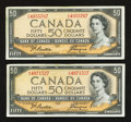 Canadian Currency: , BC-42a $50 1954 Two Examples. ... (Total: 2 notes)