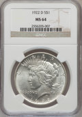 Peace Dollars: , 1922-D $1 MS64 NGC. NGC Census: (2508/1031). PCGS Population(2979/1179). Mintage: 15,063,000. Numismedia Wsl. Price for pr...