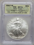 2007-W $1 Silver Eagle First Strike SP70 ICG. NGC Census: (0). PCGS Population (3684). (#150446)...(PCGS# 150446)