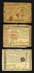Colonial Notes:Continental Congress Issues, Continental and Massachusetts Paper Money.. ... (Total: 3 notes)