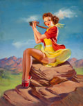 Mainstream Illustration, ART FRAHM (American, 1906-1981). The Look Out. Oil on canvaslaid on board. 30 x 24 in.. Signed lower left. From the...