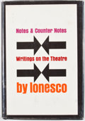 Books:First Editions, Eugene Ionesco. Notes and Counter Notes. New York: GrovePress, [1964]. First edition, first printing. Octavo. P...