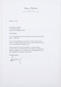 Books:Signed Editions, Sidney Sheldon. Typed Letter Signed and on Author's Letterhead. Single page and dated 2002. Letter from Shel...