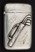 Silver Smalls:Match Safes, AN UNGER BROTHERS SILVER GOLF MATCH SAFE . Unger Bros., Newark, NewJersey, circa 1900. Marks: (UB intertwined), STERLING ...