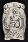 Silver Smalls:Match Safes, AN UNGER BROTHERS SILVER MATCH SAFE . Unger Bros., Newark, NewJersey, circa 1900. Marks: (UB intertwined), STERLING 925F...