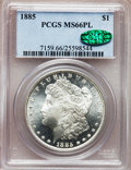 Morgan Dollars: , 1885 $1 MS66 Prooflike PCGS. CAC. PCGS Population (40/2). NGC Census: (36/3). Numismedia Wsl. Price for problem free NGC/P...