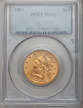 Liberty Eagles: , 1893 $10 MS63 PCGS. PCGS Population (2049/208). NGC Census:(5980/707). Mintage: 1,840,895. Numismedia Wsl. Price for probl...