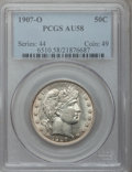 Barber Half Dollars: , 1907-O 50C AU58 PCGS. PCGS Population (22/150). NGC Census:(19/148). Mintage: 3,946,600. Numismedia Wsl. Price for problem...