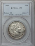 Barber Half Dollars: , 1904 50C AU53 PCGS. PCGS Population (14/132). NGC Census: (4/108).Mintage: 2,992,670. Numismedia Wsl. Price for problem fr...