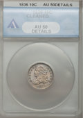 Bust Dimes: , 1836 10C --Cleaned--ANACS. AU50 Details. NGC Census: (4/166). PCGSPopulation (12/140). Mintage: 1,190,000. Numismedia Wsl. ...