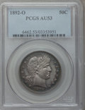 Barber Half Dollars: , 1892-O 50C AU53 PCGS. PCGS Population (17/175). NGC Census:(7/172). Mintage: 390,000. Numismedia Wsl. Price for problem fr...