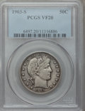 Barber Half Dollars: , 1903-S 50C VF20 PCGS. PCGS Population (9/117). NGC Census: (1/75).Mintage: 1,920,772. Numismedia Wsl. Price for problem fr...
