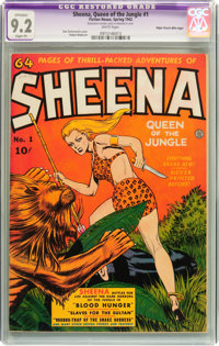 Sheena, Queen of the Jungle #1 Mile High pedigree (Fiction House, 1942) CGC Apparent NM- 9.2 Slight (P) White pages