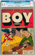 Golden Age (1938-1955):War, Boy Comics #15 Mile High pedigree (Lev Gleason, 1944) CGC VF+ 8.5 Off-white to white pages....