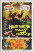 """Movie Posters:Horror, Frankenstein Meets the Space Monster/Curse of the Voodoo Combo (Allied Artists, 1965). One Sheet (27"""" X 41""""). Horror.. ..."""