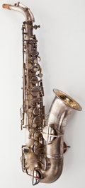 Musical Instruments:Horns & Wind Instruments, 1928 Martin Low Pitch Silver Tenor Saxophone #45151...