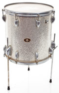 Musical Instruments:Drums & Percussion, 1966 Slingerland Floor Tom Silver Sparkle Drum #122458...