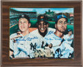 Baseball Collectibles:Photos, Mickey, Willie and the Duke Multi Signed Print....