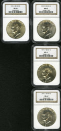Eisenhower Dollars: , 1972-S $1 Silver MS67 NGC; 1973-S Silver MS67 NGC; 1974-S Silver MS67 NGC and a 1976-S Silver MS66 NGC.... (Total: 4 Coins)