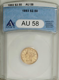 Liberty Quarter Eagles: , 1893 $2 1/2 AU58 ANACS. NGC Census: (58/524). PCGS Population (75/481). Mintage: 30,000. Numismedia Wsl. Price: $212. (#784...