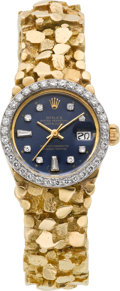Timepieces:Wristwatch, Rolex Ref. 6900 Lady's Gold & Diamond President With Gold Nugget Band, circa 1980. ...