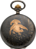 Timepieces:Pocket (post 1900), Brauswetter Janos Szegeden Niello Enamel, Gold Inlay Hunters Case, circa 1905. ...