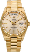 Timepieces:Wristwatch, Rolex Ref. 18000 Gold Day Date President, circa 1980. ...