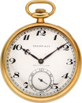 Timepieces:Pocket (post 1900), Tiffany & Co. Gold Watch By E. Koehn. ...