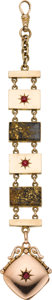 Timepieces:Watch Chains & Fobs, Gold Quartz & 14k Gold Watch Fob With Garnets. ...