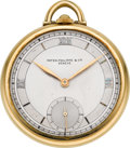 Timepieces:Pocket (post 1900), Patek Philippe Gent's Gold Pocket Watch, circa 1930. ...