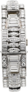 Timepieces:Wristwatch, Hamilton Very Fine Platinum & 20 Cttw. Diamond Bracelet Watch, circa 1930's. ...
