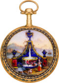 Timepieces:Pocket (pre 1900) , Chas. Le Roy Paris Gold & Enamel Verge Fusee, circa 1810. ...
