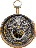 Timepieces:Pocket (pre 1900) , Swiss Skeletonized Gold Verge Fusee With Diamond Set Plate, circa1790. ...
