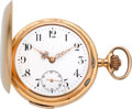 Timepieces:Pocket (post 1900), Swiss 18k Gold Quarter Hour Repeater, circa 1905. ...