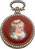 Timepieces:Pocket (pre 1900) , Swiss Silver, Enamel & Pearl Set Duplex For The Chinese Market,circa 1870's. ...