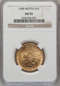Indian Eagles: , 1908 $10 Motto AU55 NGC. NGC Census: (91/3531). PCGS Population(209/3024). Mintage: 341,300. Numismedia Wsl. Price for pro...