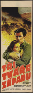 "Movie Posters:Adventure, Three Faces West (Republic, 1940). Czech Poster (12"" X 34"").Adventure.. ..."