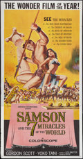 "Movie Posters:Action, Samson and the Seven Miracles of the World & Other Lot(American International, 1962). Three Sheets (2) (41"" X 81"").Action.... (Total: 2 Items)"