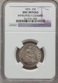 Seated Quarters: , 1876 25C --Improperly Cleaned--NGC Details. Unc. NGC Census:(7/307). PCGS Population (9/388). Mintage: 17,817,150. Numismed...